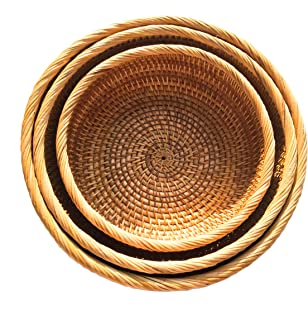 Handmade Rattan Fruit Bowls, Handwoven Multi-purpose Storage Baskets, Round, Natural Rattan, Set of 3 Different Sizes