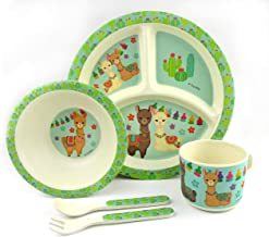 TINYMILLS 5-Piece Eco-Friendly Plant Fiber Dinnerware Set with Llama Design