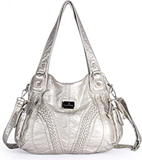 db2fddd45e Angelkiss Women Top Handle Satchel Handbags Shoulder Bag Messenger Tote  Washed Leather Purses Bag …