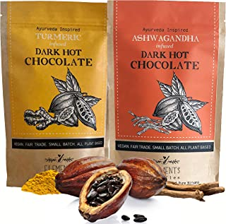 Elements Truffles Dark Hot Chocolate Variety Pack - Turmeric & Ashwagandha Infused Natural, Handmade Dark Hot Chocolate Mix With Raw, Organic Cacao Powder - Vegan Hot Cocoa Mix - 8 Ounces, Pack of 2