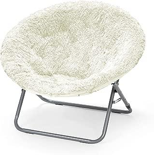 Urban Shop Oversized Mongolian Saucer Chair, White