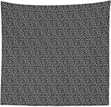 Ambesonne Minimalist Tapestry Queen Size, Monochromatic Curvy Wavy Swirly Stripes Geometric Avant Garde Print, Wall Hanging Bedspread Bed Cover Wall Decor, 88