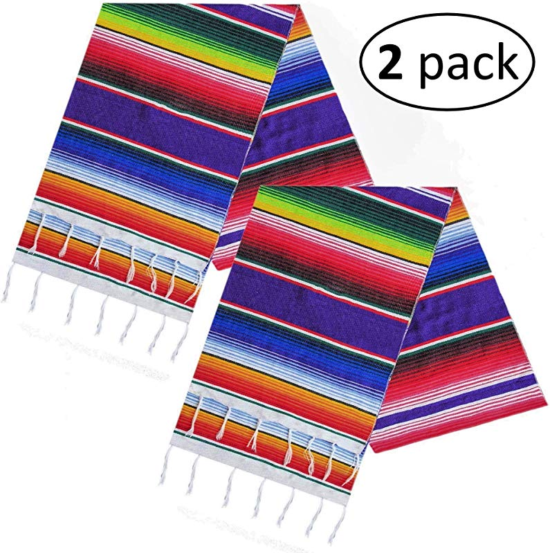 Keeda Fiesta 2 Pack Mexican Table Runner 14 X 84 Inch Authentic Handwoven Cotton Serape Mexican Party Decorations Serape Table Runners Pack Of 2 Fiesta Party Decorations Mexican Runners