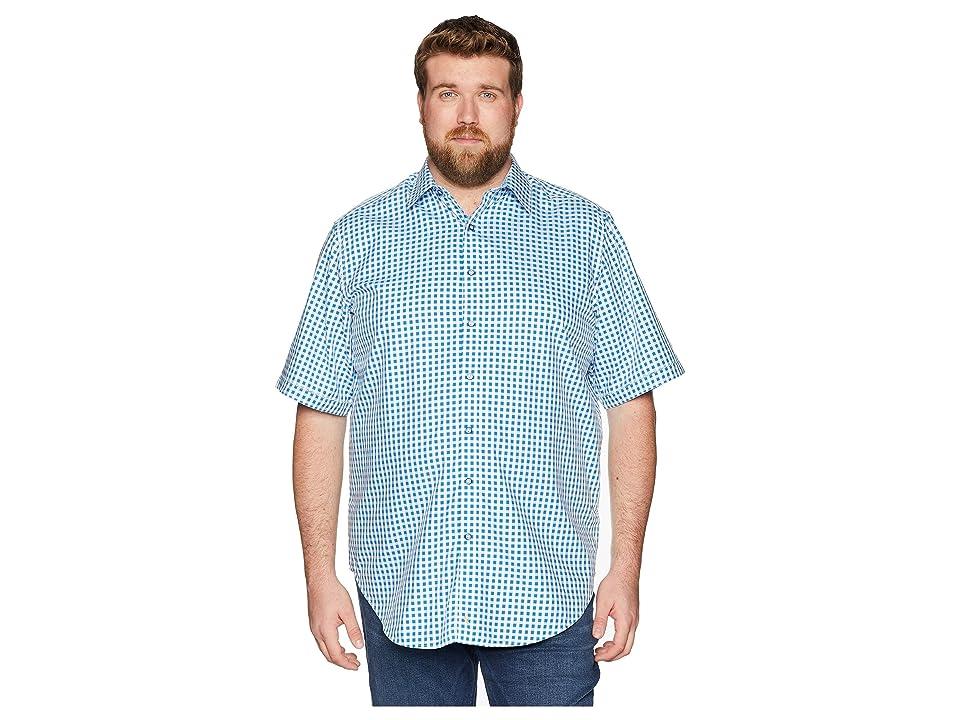 Robert Graham Big Tall Morales Short Sleeve Woven Shirt (Blue (Tall)) Men