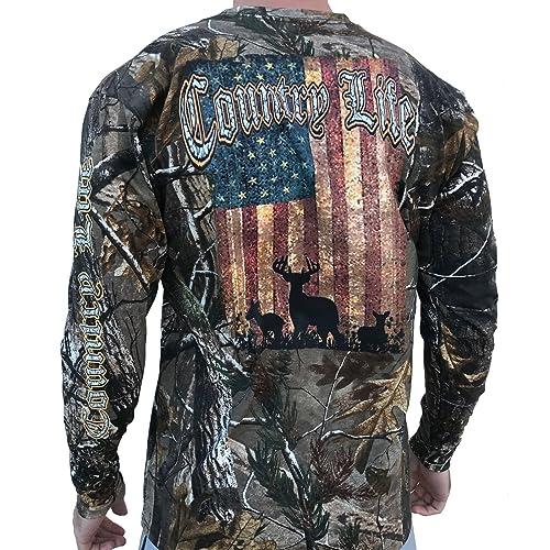 d7cb073ec3 Country Life Deer American Flag Realtree Camo Long Sleeve Shirt