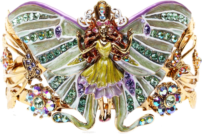 Kirks Folly Lady Luna Fairy Cuff Bracelet - Size Large - Goldtone