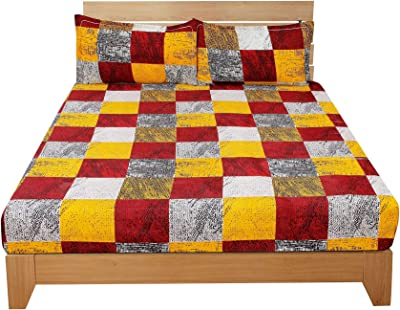 BSB HOME® Glace Cotton Combo Set of 7 Double Bedsheets with 14 Pillow Cover, Multicolor, डबल बेडशीट
