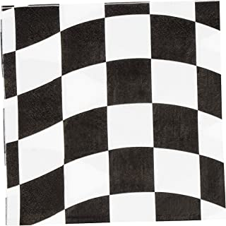 150 Pack Dinner Decorative Napkins - Checkered Flag Disposable Paper Napkins, Perfect for Car Race Party Supplies and Kid Boy Birthday Decorations, 6.5 x 6.5 inches, Black and White