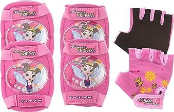 Titan Flower Princess Multi-Sport Protective Pink Pad Set, Elbow Knee and Wrist Guards
