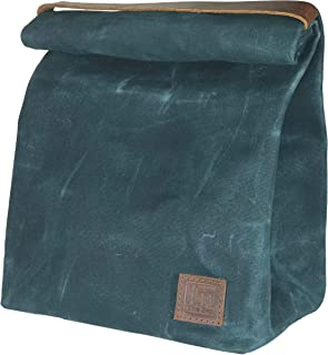 Lunch Bag (Lunch Box) Large Lined Waxed Canvas Roll Top Tote Bag with Leather Strap Carrying Handle and Brass Snap Closure - Forest Green - by In The Bag