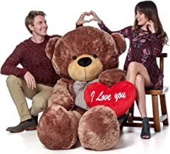 Giant Teddy Brand 6 Foot Life Size Mocha Brown Color Big Plush Teddy Bear Sunny Cuddles (with I Love You Heart)