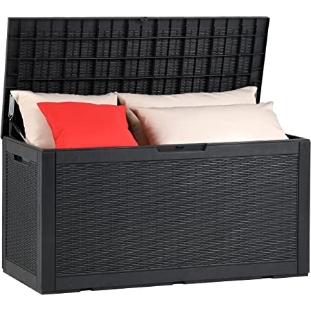 YITAHOME 100 Gallon Large Resin Deck Box Outdoor Storage Boxes for Patio Furniture, Outdoor Cushions, Garden Tools and Pool Supplies-Waterproof,Lockable (Black)