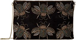 BSB3549 Beaded Bugs On Velvet Clutch with Gold Chain