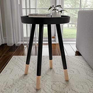Lavish Home Decor Display and Home Accent Table with Tray Top and Two-Tone Color (Black),