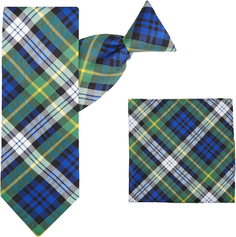 Jacob Alexander Royal Tartans Plaid Men's Clip-On Neck Tie and Pocket Square Set