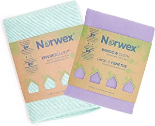 Norwex Basic Package - Microfiber Antibacterial - Glass Window Cleaning Cloth and Household Enviro Dusting Cloth Colors May Vary