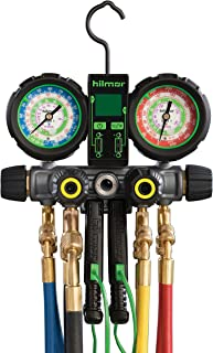 hilmor 1839110 R410A 4-Valve Manifold with Hose and Dual Readout Thermometer