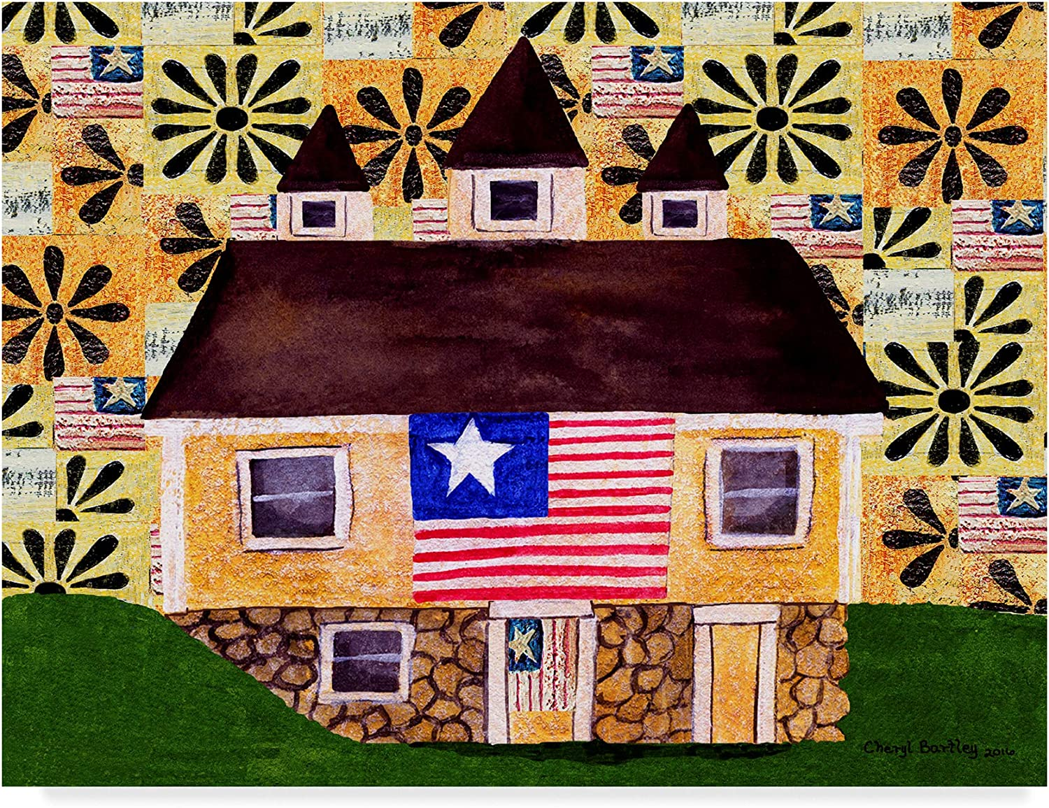 Trademark Fine Art Flag One Land Outlet ☆ Free Shipping 14x19-Inch by Cheryl Bartley It is very popular F