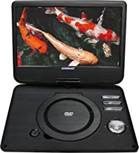 Koramzi Portable Swivel DVD Player with Rechargeable Battery / USB&SD Reader / AV Out / Headphone Jack / Remote Control/ AC-DC Power Adaptor/ Multi-Region DVD Format- PDVD (Medium, Black)