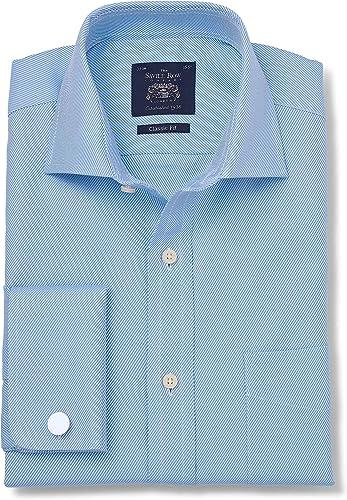 Savile Row Company Hommes's bleu Twill Classic Fit Cutaway Collar Shirt - Double Cuff