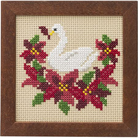 LECIEN (ルシアン) 刺しゅうキット かわいいどうぶつと季節のお花 フレーム付きクロスステッチキット スワンとポインセチア, 872