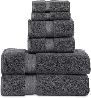 "804 GSM 6 Piece Towels Set, 100% Cotton, Premium Hotel & Spa Quality, Highly Absorbent, 2 Bath Towels 27"" x 54"", 2 Hand Towel 16"" x 28"" and 2 Wash Cloth 12"" x 12"". Charcoal Color"