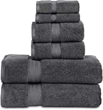 """804 GSM 6 Piece Towels Set, 100% Cotton, Premium Hotel & Spa Quality, Highly Absorbent, 2 Bath Towels 27"""" x 54"""", 2 Hand Towel 16"""" x 28"""" and 2 Wash Cloth 12"""" x 12"""". Charcoal Color"""