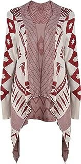 Women Aztec Tribal Geometric Blanket Wrap Waterfall Open Front Cardigan Sweater