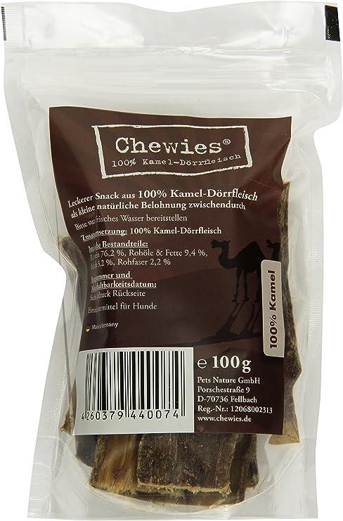 Chewies Carne deshidratada de Kamel, 100 g, tentempié para Masticar Natural para Perros, hipoalergénico y sin aditivos, Aperitivo para Perros con ...