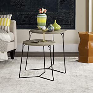 Safavieh Home Collection Ryne Modern Light Brown Stacking Round Top End Table