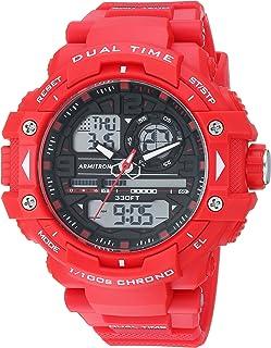 ساعة ارمترون رياضية للرجال 20/5062RDB انالوج-رقمي كرونوغراف بسوار من الراتنج الأحمر