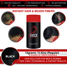 LOOK THICK Instant Hair and Beard fibers for Men, Women, Thin Hair, Thicker and Fuller, Hair Concealer, Hairline Filler, 100% Plant, Keratin and Corn, Regular Size (12 grams/Black)