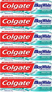 Colgate Max White Toothpaste with Bright Strips, Crystal Mint - 6 Ounce (6 Pack)