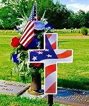Solar Lighted American Flag Cross by Eternal Light | Veteran Cross Decoration Heartfelt Cemetery Memorial 14