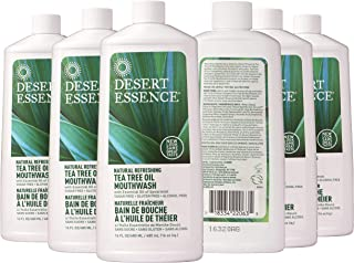 Desert Essence Tea Tree Oil Mouthwash - 16 Fl Ounce - Pack of 6 - Natural Refreshing - Spearmint Flavor - Helps Reduce Plaque Buildup - Refreshes Mouth & Gums - Vitamin C - Oral Care - No Parabens