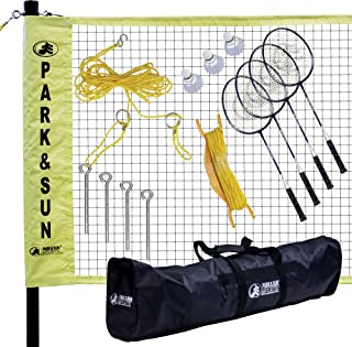 Park & Sun Sports Portable Indoor/Outdoor Badminton Net System with Carrying Bag and..