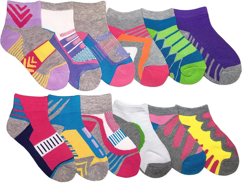 Jefferies Socks Girls Sport Athletic Pattern Low Cut Quarter School Socks 12 Pair Pack