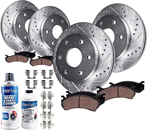 Ceramic Pads For Enclave Traverse Outlook Front+Rear Drill Slot Brake Rotors