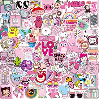 Pink Sticker Pack (102-pcs) Vinyl Pop Cute Stickers for Laptop Skateboard,Bike,Luggage,PS4,Xbos one,iPhone - Party Favors for Teenage Girls Woman-Graffiti Decal-Waterproof