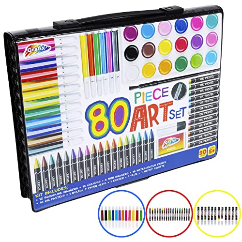 Large Childrens Art Set 66 pieces Case Craft Set Pencils Crayons Paints felts Toys & Games