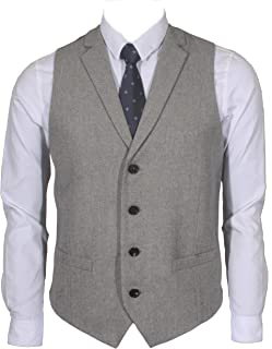 2Pockets 4Buttons Wool Herringbone Tweed Tailored Collar Suit Vest