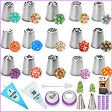 RFAQK - 50 Pcs Russian Piping Tips Set- 15 Numbered, Easy to Use Icing Nozzles - 2 Leaf Tips - 2 Couplers -30 Icing Bags -...