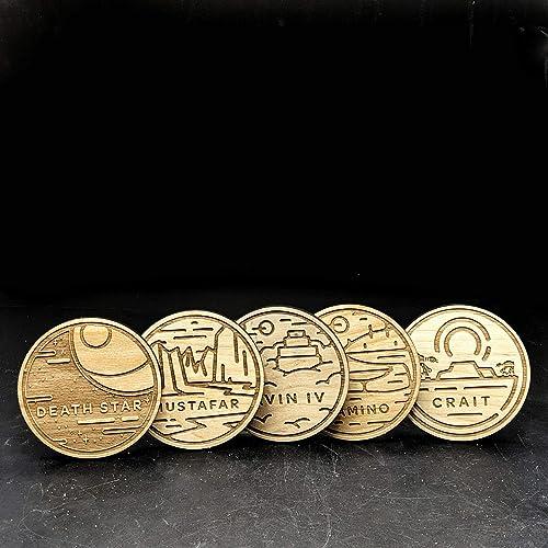 STARWARS Planet Coasters Set #3: DEATH STAR, YAVIN IV, MUSTAFAR, CRAIT, KAMINO   Wood Engraved Set of 5
