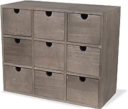 brightmaison Rustic Wood Walnut Finish Desktop Office Organizer 9 Drawers Craft Supplies Storage Cabinet