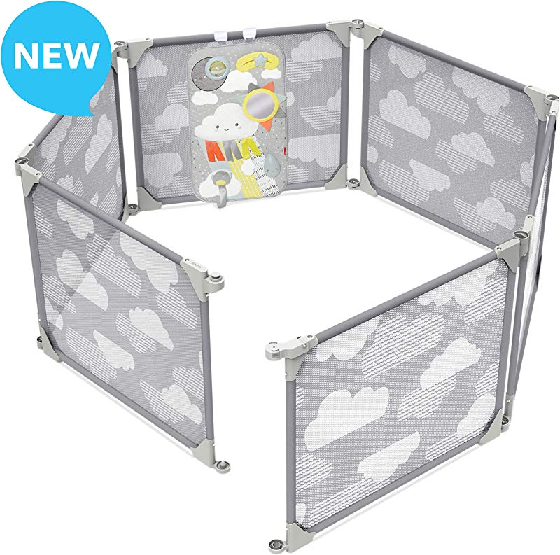 Skip Hop Baby Playpen Expandable Or Wall Mounted Play Yard With Clip On Play Surface Silver Lining Cloud