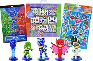 PJ Masks 5-Pack Mini Figures (Catboy, Gekko, Owlette, Romeo, Night Ninja) & Stickers Stationery Collection