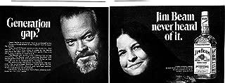 1971 Orson Wells + Daughter Rebecca Wells Jim Beam Whiskey-Original 2 Page Magazine Ad