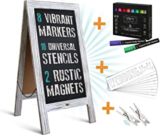 HBCY Creations Rustic Magnetic A-Frame Chalkboard Deluxe Set / 8 Chalk Markers + 10 Stencils + 2 Magnets! Outdoor Sidewalk Chalkboard Sign/Large 40