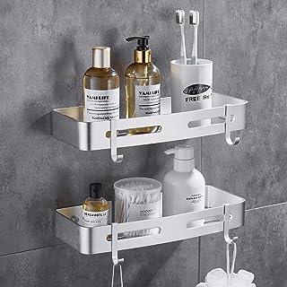 TRUSTLIFE 2 Piezas Estantes de Ducha Cuadrados de Aluminio para Baño sin Taladrar Cesta de Almacenamiento de Esquina Monta...