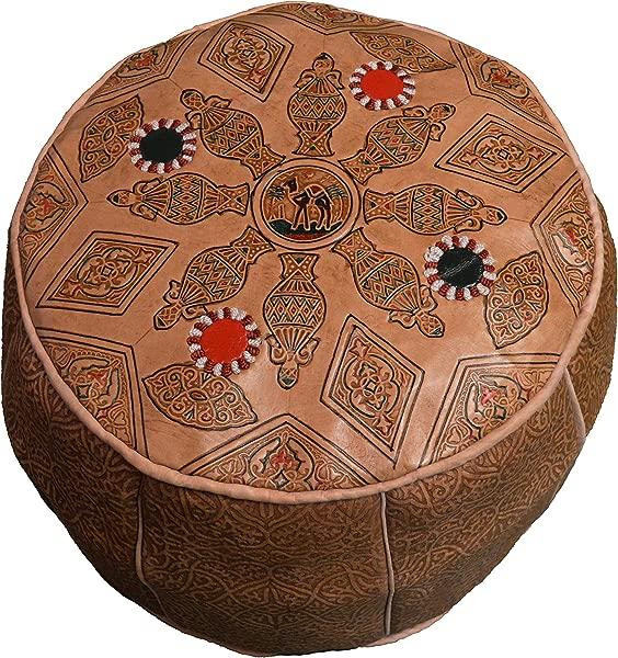 摩洛哥 Poof 100 皮革手工手工雕刻传统脚凳 Pouf 部落柏柏尔人奥斯曼独特设计